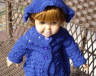 Royal Blue Sparkle Knitted Sweater Coat and Hat for American Girl and other 18 Inch Dolls