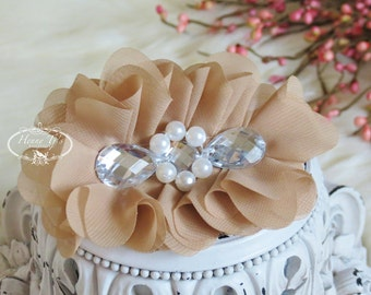 New: Reign Collection 2 pcs Silk Fabric Flowers with Rhinestones - CAMEL BROWN / Nude floral embellishments Layered Bouquet fabric flowers