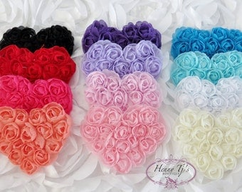 You PICK CoLoRS : Beautiful Shabby Chic Chiffon Small Rosette Flower Heart Appliques 2.5 inches, Valentine's Day