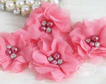 NEW: 4 pcs Aubrey CORAL PINK - Soft Chiffon with pearls and rhinestones Mesh Layered Small Fabric Flowers, Hair accessories