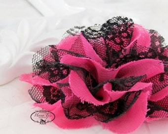 """NEW : 2 pieces 3.5"""" Shabby Chic Frayed Chiffon Mesh and Lace Rose Fabric Flower - Fuchsia Hot Pink w/ Black lace"""