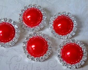 5 pcs - 20mm Silver Metal RED Pearl (no.45) Crystal Rhinestone Buttons Embellishments w/ shank - wedding / hair / Flower Center
