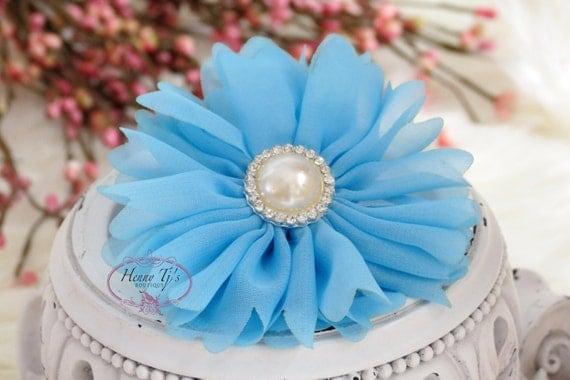 Ballerina Daisy : Aqua Blue Soft Chiffon Fabric flowers with rhinestone pearl button center. Bridal Favor Hair Applique Brooch headband