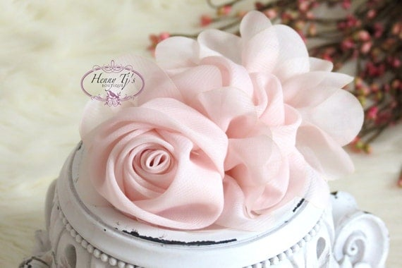 New: Light Pink Soft Chiffon Rolled Rose Fabric flowers with layers Bridal Favor Hair Applique Brooch headband