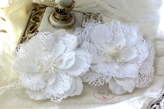 NEW: Prima Odette - White 566555 Random Fiber Mesh Cut edge fabric flowers with stamens (2 pcs) for Corsages, floral supply