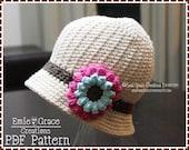 Crochet Bucket Hat Pattern, Flower Cloche, ALLISON - pdf 229