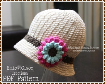 Crochet Bucket Hat Pattern, Flower Cloche, ALLISON - pdf 229