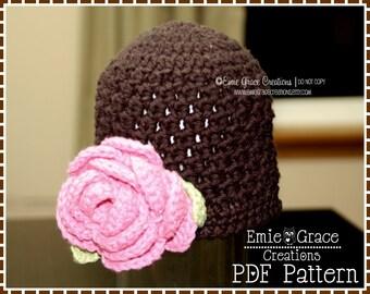 Flower Hat Crochet Pattern, Textured Beanie, BELLA - pdf 214