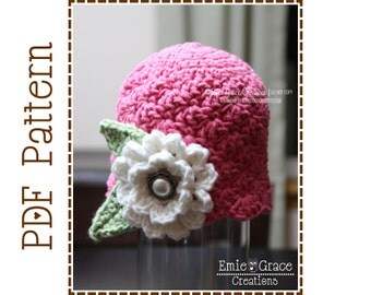Flower Hat Crochet Pattern, Shell Beanie, CHLOE - pdf 209
