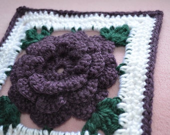 Floral Plum Purple Crocheted Afghan - 35 squares