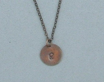 Antique Copper two Initials Necklace