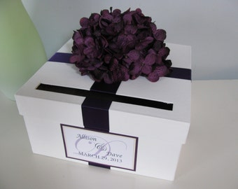 White Wedding Card Box-Shown with Eggplant  Plum Dark Purple Hydrangea and Custom Personalized Tag Can You choose Flowers and Colors