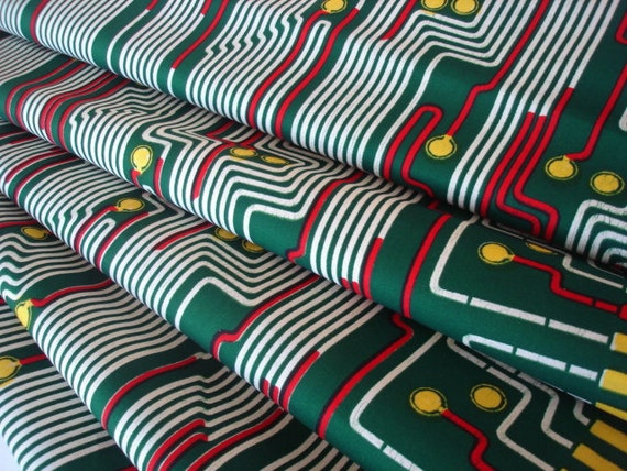 African Fabric VLISCO Nouvelle Histoire Collection Real Dutch Wax Block Print Circuits A1328 Half Yard