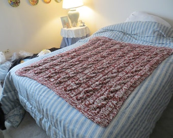 Hand Knit Cable Blanket in Redwood and Natural