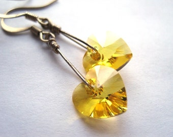 Yellow Swarovski Heart Earrings,  Crystal Heart Earrings, Gift for Her, Minimalist Jewelry, Valentine Heart, Sterling Silver Dangle Earrings