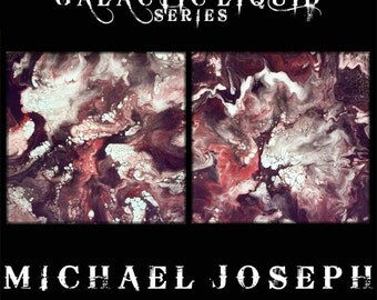 Original Modern Abstract Art Painting by Michael Joseph -  2 piece set 10 x 10 x 1.5 inch each liquid contemporary Ready To Hang