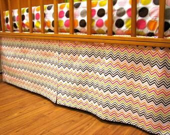 Adjustable Multi Color Chevron Crib Skirt wth Box Pleat