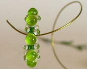 Transparent Lime Green Lampwork Glass Disc Beads, FREE SHIPPING, Lampwork Bubble Spacers, Earrings Set - Rachelcartglas