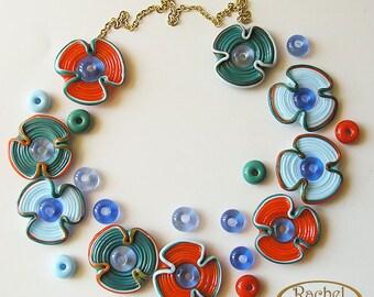 Lampwork Flowers Glass Beads, FREE SHIPPING, Multicolored set of Handmade Lampwork Glass Disc Beads - Rachelcartglass
