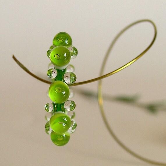 Transparent Lime Green Lampwork Glass Disc Beads, FREE SHIPPING, Lampwork Bubble Spacers, Earrings Set - Rachelcartglas