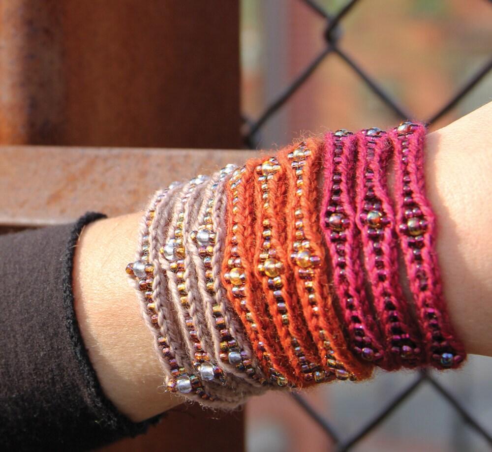 Knitting Jewelry Kits : Mudra cuff kit wool
