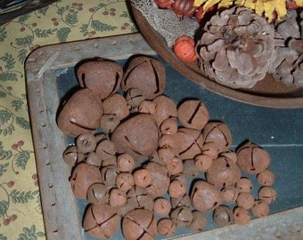 64 Rusty Tin Jingle Bells New Assortment Primitive Crafts Rustic Fixins