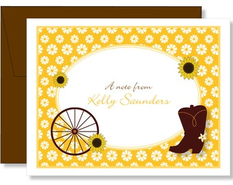 Custom Western Daisy Sunflower Cowboy Boot Note Cards