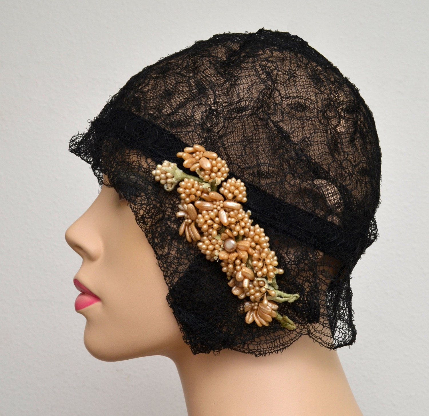 vintage 20s cloche 1920s black lace flapper hat gatsby