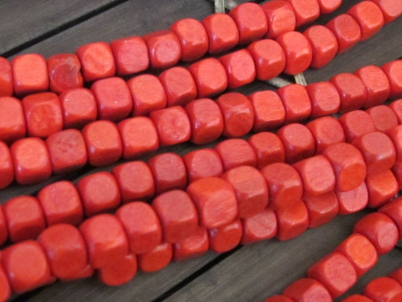 Red coral color wood cubes beads Full strand 6 mm - 16 inches - NB060