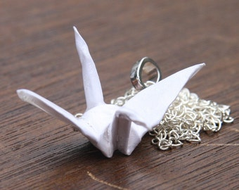 Origami Crane Necklace Large - Metallic White