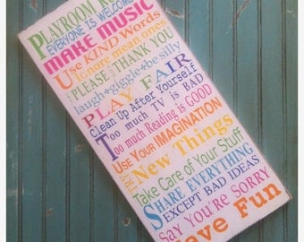 Wooden Sign Playroom Rules in Rainbow Colors - Hand Painted Typography Word Art
