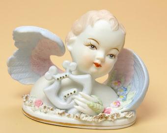 Lefton Angel with Harp Figurine 432 - Ceramic Bisque