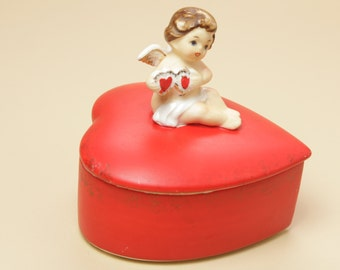 Lefton China Angel Heart Box 2818  - Ceramic Porcelain