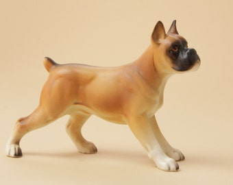 Vintage Ceramic Boxer Dog Figurine - Made in Japan 1960s
