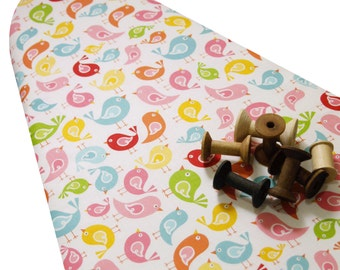 PADDED Ironing Board Cover made with Riley Blake's Hello Sunshine happy birds on white