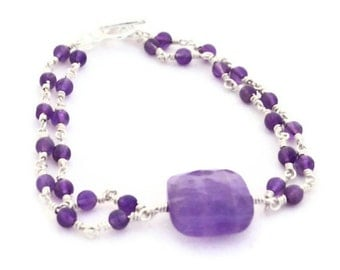 Amethyst Gemstone Double Strand Bracelet