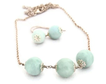 Amazonite Semi Precious Gemstone Necklace Sterling Silver Necklace