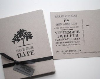 Save the Date Postcards Woodland Style set of 40, Rustic Wedding Save the Date Postcards