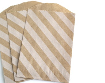 Mini Striped Kraft Favor Bags (20)
