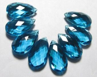 4 Matched Pair - AAAA - High Quality Gorgeous Apatite Pecock Blue  colour Quartz Pear Briolett Super Sparkle Huge size - 10x18 mm - drilled