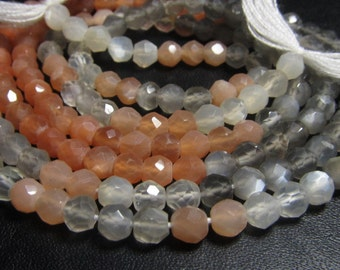 14 inches - AAAA - High Quality - Multy MOONSTONE - Micro Faceted Round Ball Beads - Super Sparkle - size 4 mm approx