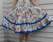 White Floral Print Dress Square Dancing Dance Vintage Country Full Skirt L