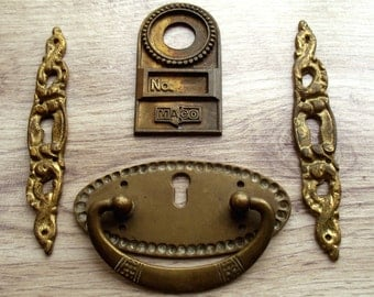 Vintage Brass Assortment - 4 Pieces of furniture embellishment - Keyhole - mixed media, steampunk projects, altered art (L-6)