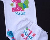 Girls' Birthday  Hot Pink with Lime Green and Turquoise Butterfly  Long Sleeve Bodysuit and Diaper cover