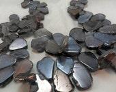 Gemstone Crystal Quartz, Blue Gray Mystic finish Petal, slab bead, slice Flat shape bead,18x26mm avg, 1/2 strand about 17pcs