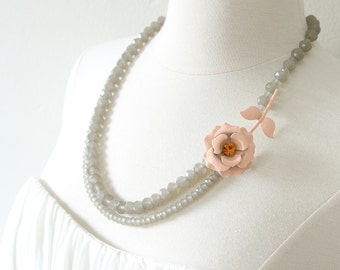 I'm Peachy Keen On You. Flower Necklace Repurposed from Vintage Enamel Rhinestone Pin