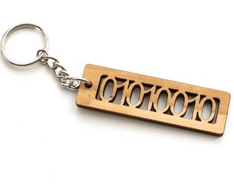 """ASCII Code Binary Letter """"R"""" Keychain - 01010010 - Geekery Key Fob - Made in the USA with Sustainable Black Cherry Wood - Timber Green Woods"""