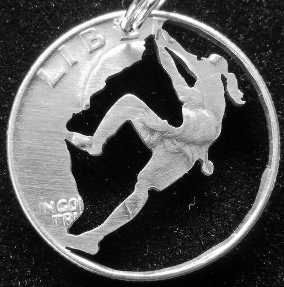 Rock Climber Hand Cut Coin Jewelry