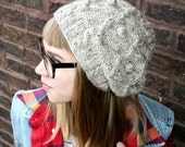 Oatmeal Tweed Slouchy Cable Knit Beanie