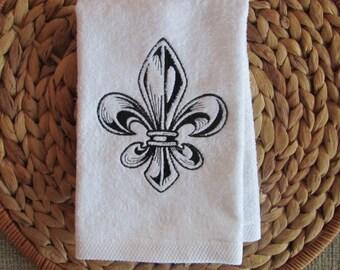 Engraved Fleur de Lis - Fingertip Velour Bathroom Towel (White) - JD Designs